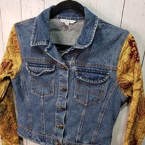 CAbi Style 161 Denim Jean Jacket Brocade Sleeves